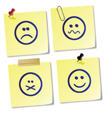Sticky notes with smiley faces showing various emotional states