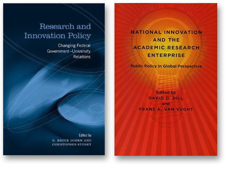 "Book covers for ""Research and Innovation Policy"" and ""National Innovation and the Academic Research Enterprize"""