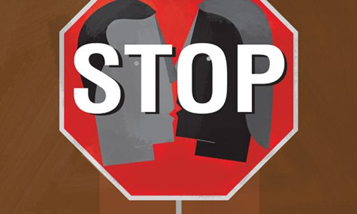 Illustration of a couple about to kiss superimposed on a stop sign