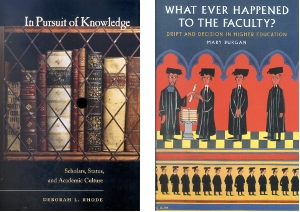 "Book covers - ""In Pursuit of Knowledge"" and ""What Ever Happened to the Faculty?"""