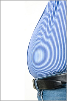 A man's overweight belly