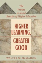 """Higher Learning, Greater Good"" - book cover"