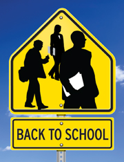 Student crossing sign with adult sillouettes