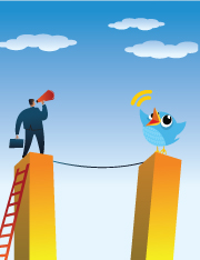 Man with megaphone opposite to a twitter bird, both standing on towers