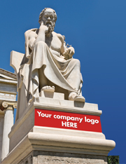 "Greek Statue that says ""Your company logo HERE"""